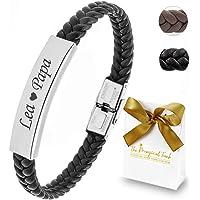 TMT Personalisiertes Leder Armband mit Gravur | braun schwarz| mit namen für Männer und Jungs Geschenk für Ihn…