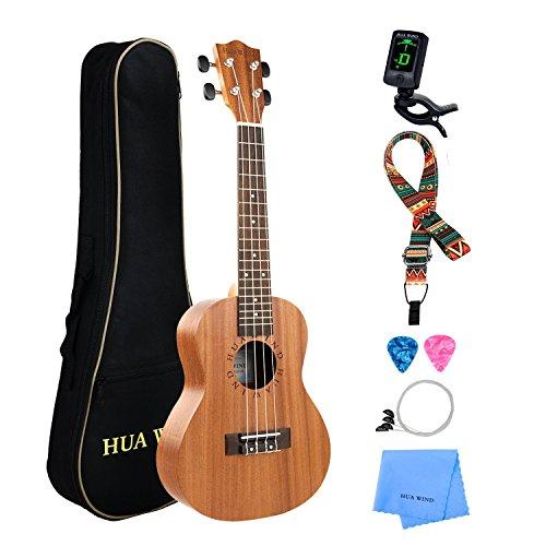 Hua Wind Ukulélé Concert 23 Pouces Acajou Cordes Ukulele traditionnel Naturel et Débutant Kit