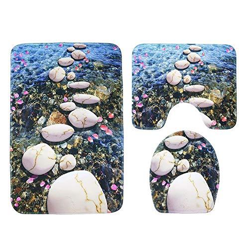 TOMSSL Stream Wasser Fluss Muster Teppich Fußmatten Bad WC-Sitz Dreiteilige Wasseraufnahme Nicht Verblassen Wilde Reihe Von Komfortablen Bad Matten Maschine Waschbar Gute Qualität -