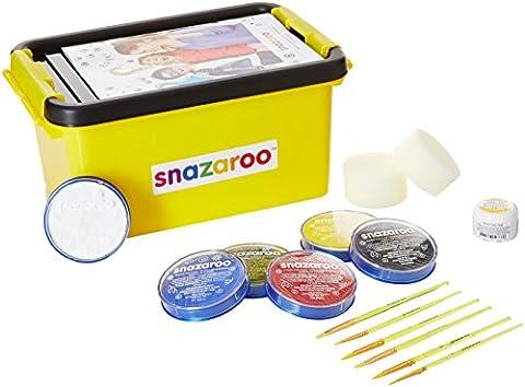 Snazaroo Einsteiger Schmink - Koffer, 6 Farben & Glittergel, 3 Pinsel, 2 Schwämmchen & Schminkbuch in englisch