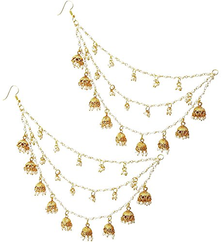 Shining Diva Fashion Gold Plated Bahubali Pearl Hair Chain Accessories Jhumki Traditional...
