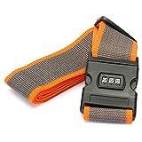 cinghie bagagli - SODIAL(R)Sicurezza Cinghia Cintura Serratura Combinazione Valigia Viaggi Bagagli Fascia colore:Arancio+Grigio