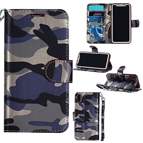 (Jusheng Großhandels-PU-Leder-Schlag-Kastenabdeckung Armee-Tarnungs-Kreditkarte-Geldbörse für iPhone x 10 (Color : Blue, Size : Ipx))