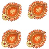 Orange Gold Accented Handmade Earthen Clay / Terracotta Decorative Diyas / Oil Lamps With For Pooja / Diwali / Puja Set Of 4