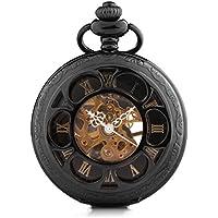 Alienwork Retro orologio da tasca meccanico Scheletro carica manuale inciso Metallo nero nero W891-07