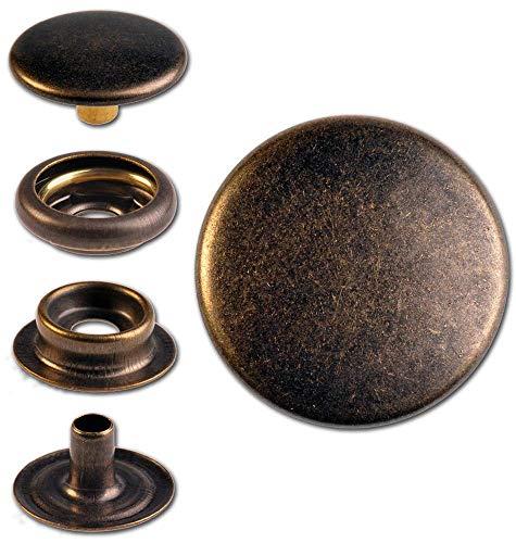 Hoppe & Masztalerz 15 Ringfeder-Druckknöpfe F3 15.5mm aus Messing (nickelfrei), Finish: messing-antik, Verschlusskraft: medium