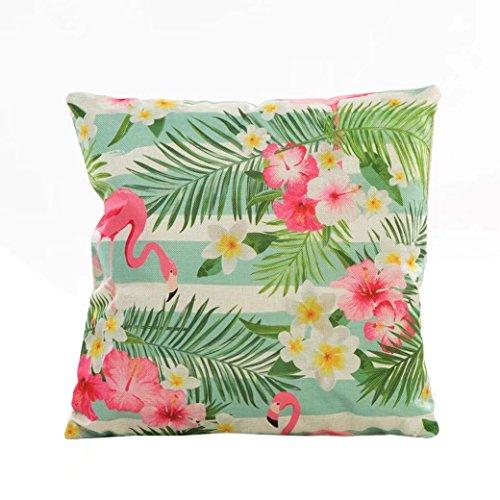 Dekorative Sonnenblumen-kissen (Grün Blätter Kissen, H. Eternal Flamingo Sonnenblume Home Dekoration Sofa Taille Überwurf Kissen Fall Baumwolle Leinen Kissenbezug 45,7x 45,7cm #07)