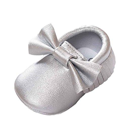 Hunpta Baby-Krippe Quasten Bowknot Schuhe Sneakers Casual rutschfeste Schuhe Lauflernschuhe Krabbelschuhe Babyschuhe Schuhe (13, Silber) Silber