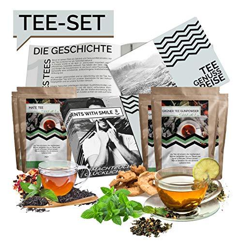 Tee Probierset Tees aus aller Welt Geschenkbox | 10x25g Tee Weltreise Geschenkidee Geschenkset für Frauen Männer | Tee Box Geschenk Box Geburtstag Weihnachten Garten Tee-set