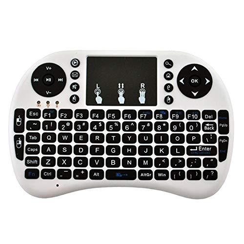 try99pink I8 Mini 2,4 GHz + BT Mini Wireless Bluetooth Hintergrundbeleuchtung Touchpad Tastatur mit Maus für PC/Mac/Android Built-in Lithium Battery English weiß - Mac Touchpad Tastatur Bluetooth