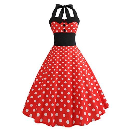 tro Kleid Petticoat Faltenrock Festkleid Christmas Halloween Oktoberfes Karneval(D-Rot,EU-42/CN-2XL) ()