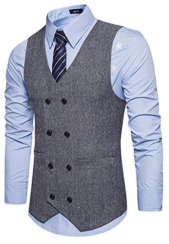 WHATLEES Herren Schmale Tweed Weste aus Strukturiertem Material mit Zweireihige Knopfleiste und strukturierter Tweed B729-Gray-M
