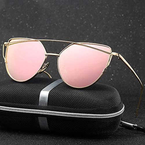 FORTINGBAR Vintage Metallic Farbe Brille Outdoor Sonnenbrillen for Frauen (Farbe : Rose Gold/pink)