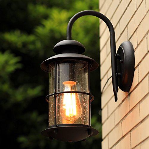 GaoHX moderno minimalista americano industriale rustico Lampada da parete esterno impermeabile terrazza giardino Ferro Battuto Lampada da