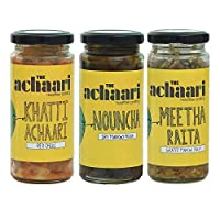 The Achaari Homemade Mango Pickle (Pack of 3) (Khatti Achaari Red Chilli, Nouncha & Meetha Raita)