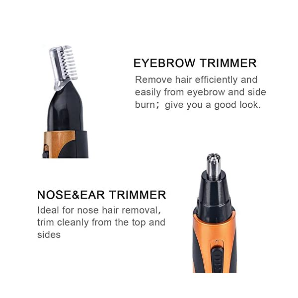 Xincare Nose Hair Trimmer Eyebrow Underarms Hair Shaver Razor Remover Face Shaving Groomer Set Stainless Steel 360 Degree Waterproof Rechargeable Gold