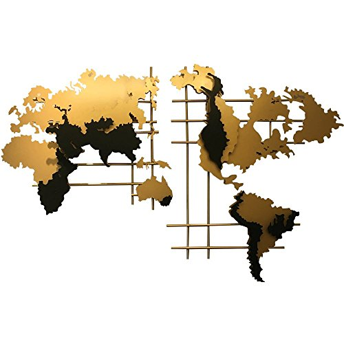 sankontran - Figura Decorativa de Pared con Mapa del Mundo Hecho a Mano, Abstracto Creativo de 182,88 cm, de Metal, para Sala de Estar, decoración del hogar, Oficina