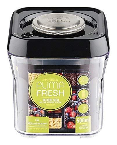 Pioneer Pump Fresh Vakuum Seal Kanister Food Storage Tupperware Box, Plastik, schwarz, 500 ml -