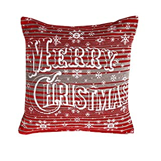 Ashley Mills Christmas Red Grey Merry Christmas Cushion Cover Chenille 43x43cms