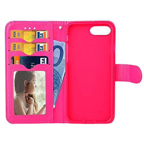 iPhone Case Cover IPhone 7 Plus Boîtier Bright Surface Solid Color PU Housse en cuir Horizontal Flip Stand Case Couverture Avec Support Photo Frame Portefeuille Card Slots ( Color : Gold , Size : IPho Rose