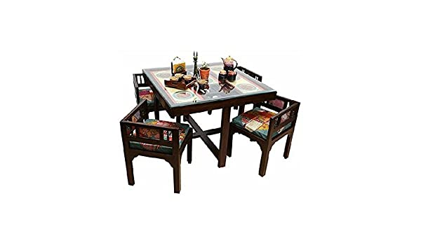 1f3a4b94d Generic Solid Wood Modern Sleek 4 Seater Square Dining Table with Warli    Dhokra Art Work (Black)  Amazon.in  Home   Kitchen