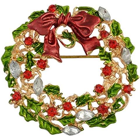 Regalo di natale Cartoon Abbigliamento Corsage cristallo strass Babbo Natale albero di Natale spilla pin