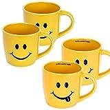 Tasse 4er Set Kaffeetasse, Kaffeebecher 'Smiley' Emotion Tassen Teetasse Bürobecher Henkelbecher