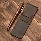 mogoko Echt Leder Doppel Stift Fall Halter, Vintage Bleistift Tasche Pen Sleeve Tasche braun
