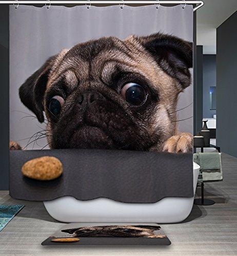 Art Deco Teppiche (kisy Cartoon Mops Hund Stoff Bad Duschvorhang Antischimmel-wasserabweisend Quick Dry 180cm x 180cm für Badezimmer mit 12Plactic Haken)