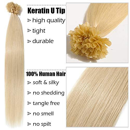 Extensions Echthaar Bondings 1g U-Tip Haarverlängerung 50 Strähnen Keratin Human Hair 50g-40cm(#60 Weißblond)