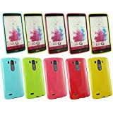 Emartbuy® LG G4 Glänzend Gloss Gel Skin Tasche Hülle Packung 5 - Hot Rosa, Rot, Blau, Gelb, Grün
