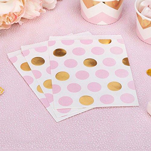 (Papiertütchen Punkte rosa gold 16,5 x 13 cm 25 Stück - Geschenktütchen Hochzeit Candy Bags Kindergeburtstag Mitgebsel Kinderparty Paper Bags Candy Bar Bonbontütchen Süßigkeiten-Tütchen Dots rosa gold)