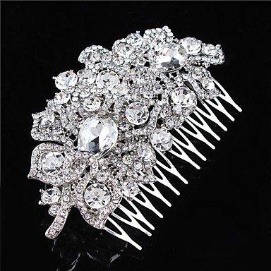 Zormey Flashion Charmant fête de mariage mariée Fleur Cristal d'Autriche Argent Peignes Accessoires Cheveux
