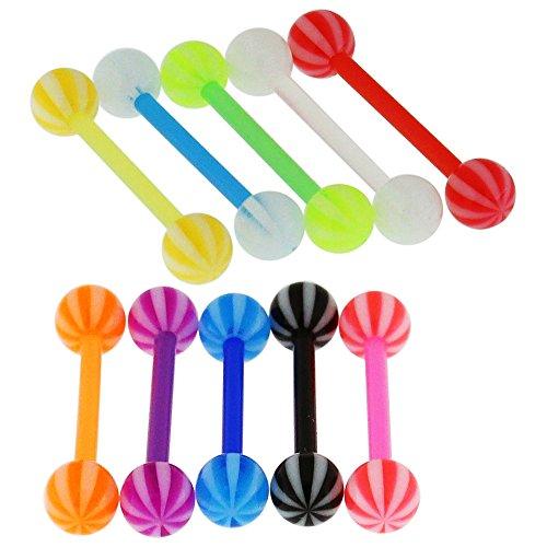 10 Stück Packung von Fancy UV Strandball mit 19MM Länge - 14 Gauge Bioplast Flexible Straight Barbell Zunge Bar Piercing