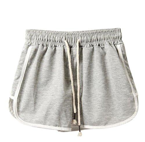 Preisvergleich Produktbild Tomatoa Damen Shorts Sommer Sports Shorts Schlafanzughose Schlafhose Yoga Running Gym Beiläufige Elastische Sport Shorts Fitness Hot Pants (Grau, 3XL)