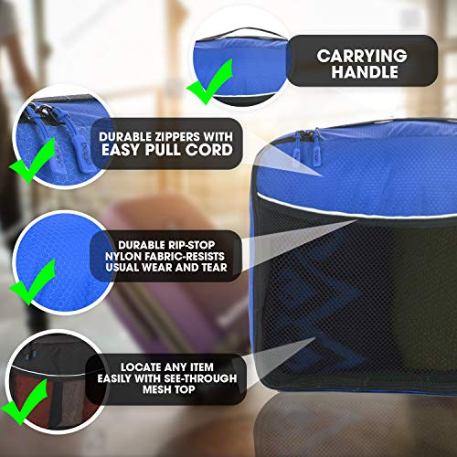 Luggage Packing Cubes 4pcs - Plus 6pcs Ziplock Bags - Deep Blue
