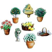 Kühlschrankmagnete Blumen Magnete Für Magnettafel Küche Stark 8er Set Garten  Natur Pflanzen Mit Motiv Blumentopf Mediterran