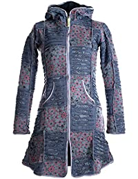 Vishes - Alternative Bekleidung - warmer Elfen Patchworkmantel aus Baumwolle mit Fleecefutter und Kapuze