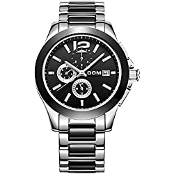 SHELI Gunmetal Black Ceramic With Stainless Steel 24H GMT Month Day Date Analog Mechanical Watch for Men Work