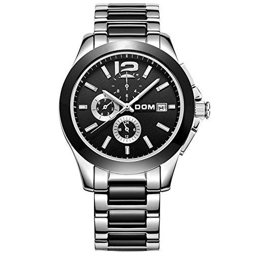 Sheli Gunmetal ceramica nera con acciaio inossidabile 24h GMT mese giorno data analogico orologio meccanico per uomini lavoro