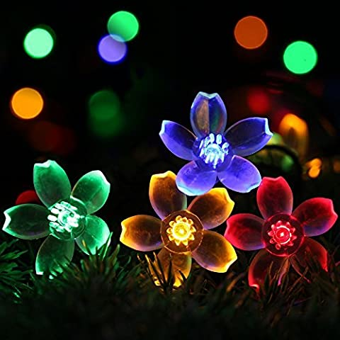 Solar Flower String Lights by RECESKY 50 LED 7m Waterproof Fairy Blossom Decor Lighting for Outdoor Indoor Garden Patio Yard Lawn Home House Party Holiday Christmas Decorations (Multi