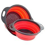Albeey 2 Stücke Zusammenklappbarer Silikon Sieb Faltbarer Seiher Filter-Korb mit Handgriff (rot)