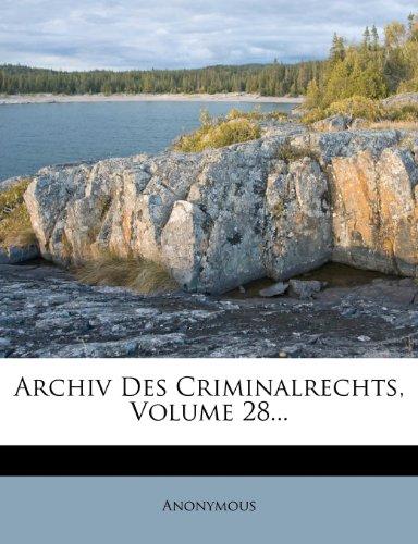 Archiv des Criminalrechts, Neue Folge, Erstes Stück