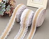 yulakes 3pcs 4* 2m Vintage lienzo Yute de arpillera cinta de encaje Craft cinta con encaje blanco para DIY artesanía boda casa Decor