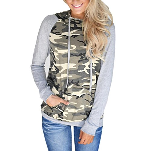 OVERDOSE Damen Camouflage Druck Tasche Langarm-Sweatshirt mit Kapuze Pullover Tops Bluse (S, A-Camouflage1) (Kurzarm-bluse Crinkle)