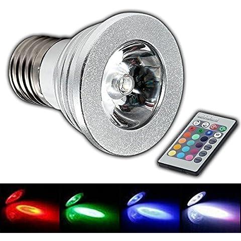 E27RGB Foco LED Bombilla 4W–cambio de color luz bombilla 4W luz incandescente bombilla con mando a distancia bombilla lámpara foco de luz de color