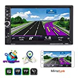 XGODY Universal-Doppel-Din-Autoradio-Spiegel-Link, 17,8 cm (7 Zoll) Touchscreen, Navi Audio MP5 Video-Player, unterstützt BT/TF/USB/AUX-IN FM-Radio-Empfänger mit kabelloser Lenkradfernbedienung