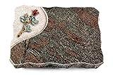 MEMORUM Grabmale Grabplatte, Grabstein, Grabkissen, Urnengrabstein, Liegegrabstein Modell Folio 40 x 30 x 5 cm Paradiso-Granit, Poliert inkl. Gravur (Bronze-Color-Ornament Rose 7)
