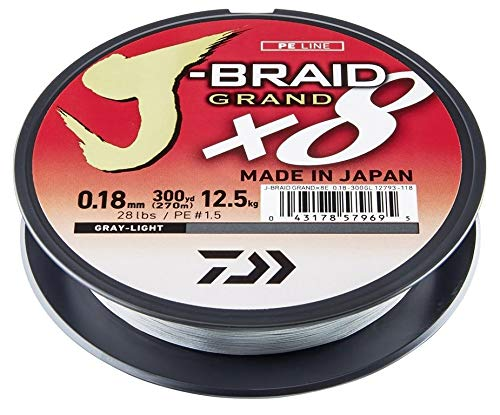 Daiwa J-Braid Grand 8-Braid, 135 Meter, 0.18mm, 12.5kg/28lbs, Hellgrau, 12793-018 -