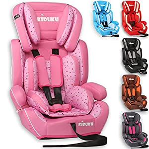 KIDUKU Safety Car Seat   Booster Seat   3 in 1 Childs Babys from 9-36 kg (20 lbs - 80 lbs) 1-12 Years   Convertible, universal   approved to ECE R44/04   Group 1 + 2 + 3   six pink   10